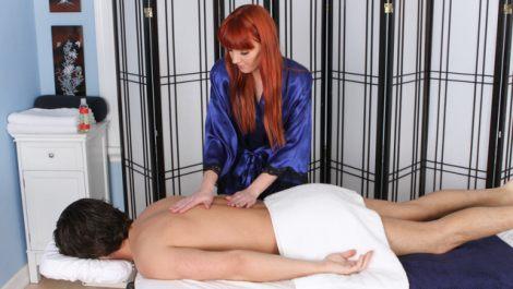 Marie McCray giving back-rub massage