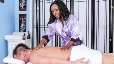 Persia Black is ready to suck the white guys hard cock