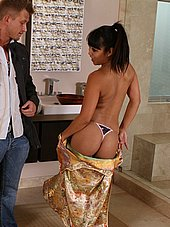 Asian masseuse stripping and shows off thong